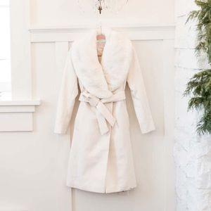 Rachel Parcell $279 Faux Fur Collar Wool Coat